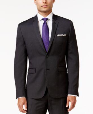 Perry Ellis Portfolio Mens Extra Slim-Fit Black Pinstripe Suit