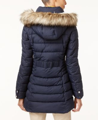 INC International Concepts Faux-Fur-Trim Hooded Puffer Coat