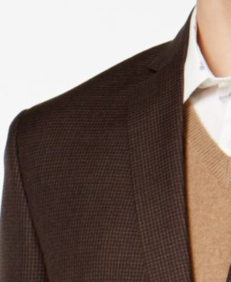 Bar III Mens Slim-Fit Brown Mini-Check..