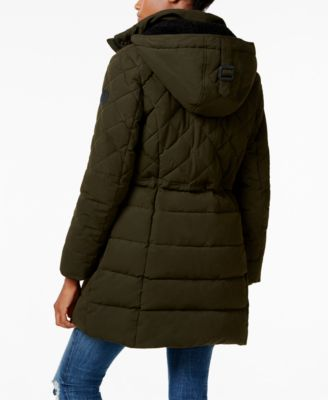 Lucky Brand Faux-Fur-Trim Hooded Quilted Anorak
