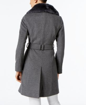 Via Spiga Rabbit-Fur-Trim A-Line Walker Coat