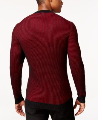 Alfani Mens Big and Tall V-Neck Waffle-Knit Sweater Regular Fit