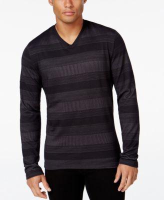 Alfani Mens Striped Long-Sleeve T-Shir..