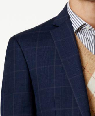 Tallia Mens Slim-Fit Navy Glen Plaid Suit