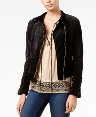 Free People Lacey Velvet Lace-Up Jacket