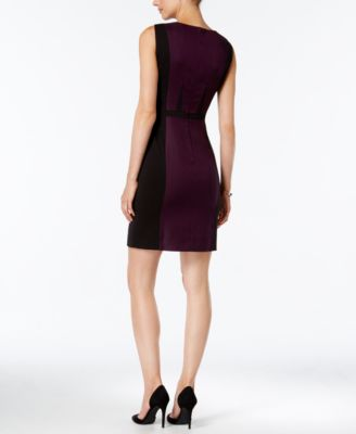 Tahari ASL Faux-Leather-Trim Colorblocked Sheath Dress