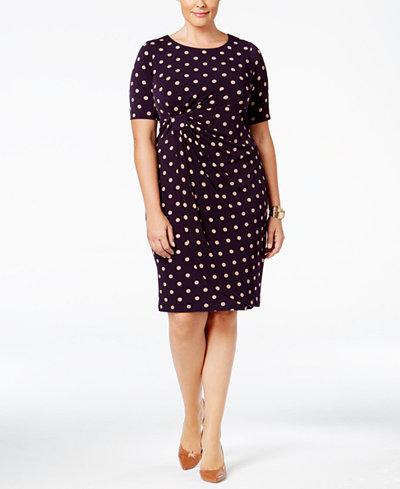Connected Plus Size Polka Dot Faux Wrap Sheath Dress