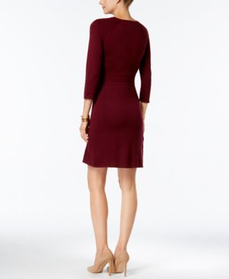 Nine West Zip-Shoulder A-Line Sweater Dress