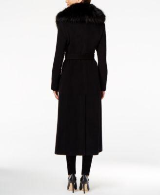 Calvin Klein Faux-Fur-Trim Belted Maxi Walker Coat