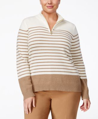 Karen Scott Plus Size Striped Quarter-Zip Sweater, Only at Macy's