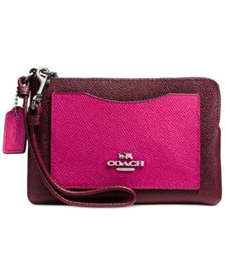 COACH Corner Zip Wristlet in Colorblock Leather