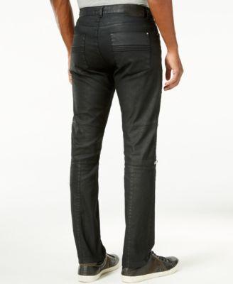 Calvin Klein CK One Mens Slim-Fit Black-Wash Multi-Zipper Jeans