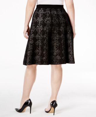 Calvin Klein Plus Size Snake-Print Jacquard Fit & Flare Skirt