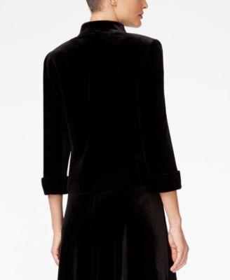 Tahari ASL Open-Front Velvet Jacket