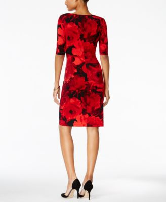 Connected Petite Floral-Print Ruched D..