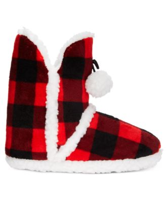 PJ Couture Plush Plaid Printed Booties