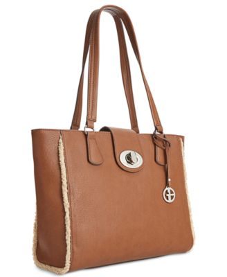 Giani Bernini Faux-Shearling-Trim Tote
