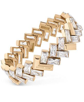 michael kors gold tone chevron baguette statement bracelet