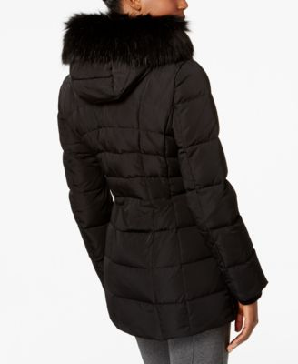 Calvin Klein Faux Fur-Trim Down Puffer..