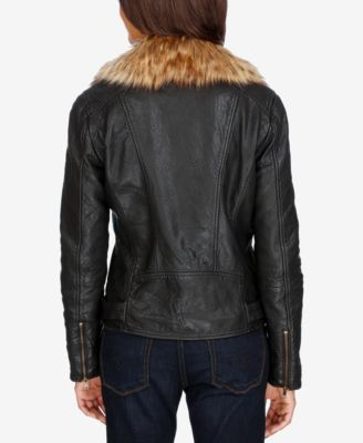 Lucky Brand Leather Faux-Fur-Trim Jacket