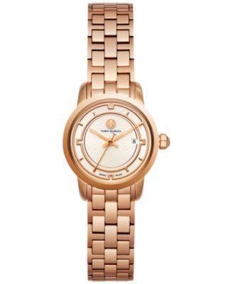 Tory Burch Womens Swiss Classic Mini Rose Gold-Tone Stainless Steel Bracelet Watch 28mm TB1031