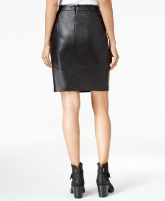 Lucky Brand Leather Zip-Pocket Skirt