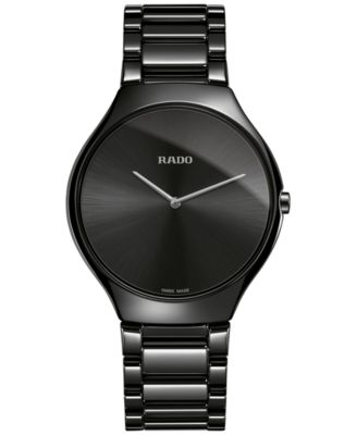 Rado Unisex Swiss True Thinline Black Ceramic Bracelet Watch 39mm R27741182
