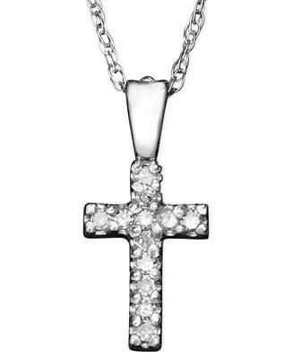 Children's 14k White Gold Pendant, Diamond Accent Cross