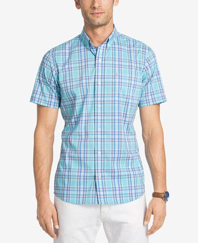 Izod men 39 s no iron plaid shirt casual button down shirts for No iron shirts mens