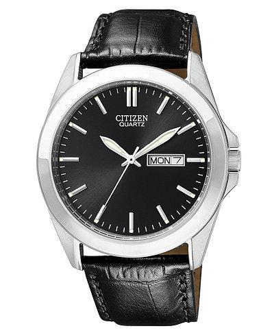Citizen Men S Black Croc Embossed Leather Strap Watch 41mm