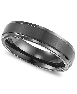 triton men 39 s black tungsten carbide ring comfort fit wedding band