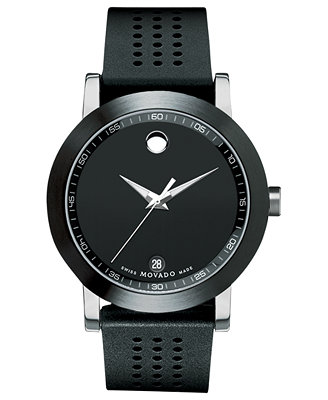 movado s swiss museum sport black perforated rubber