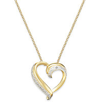 Victoria Townsend Diamond Accent Heart Pendant 18k Gold over Sterling Silver Necklace