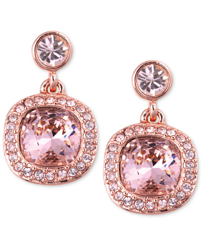 Givenchy Earrings Rose Gold Tone Swarovski Light Pink
