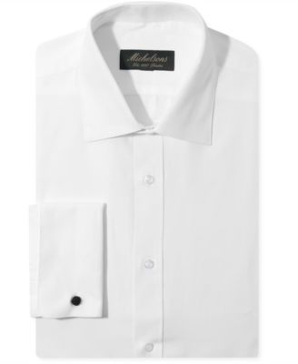 Michelsons of London Slim-Fit Chevron Texture French Cuff Tuxedo Shirt