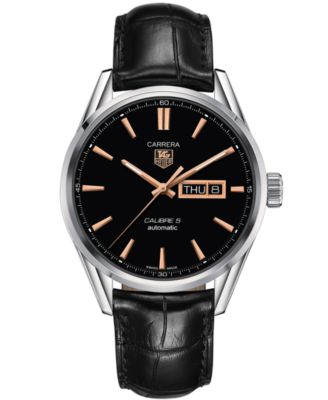 TAG Heuer Mens Swiss Automatic Carrera Calibre 5 Day-Date Black Leather Strap Watch 41mm WAR201C.FC6266