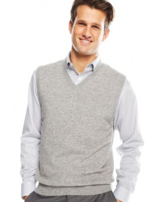 Club Room Mens Big and Tall Cashmere Solid Sweater Vest