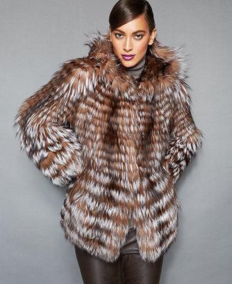 The Fur Vault Fox Fur Hooded Jacket The Fur Vault