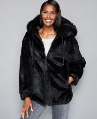 The Fur Vault Leather & Rabbit Fur Rev..