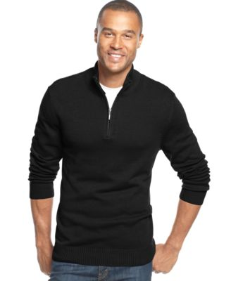 John Ashford Solid Quarter-Zip Sweater