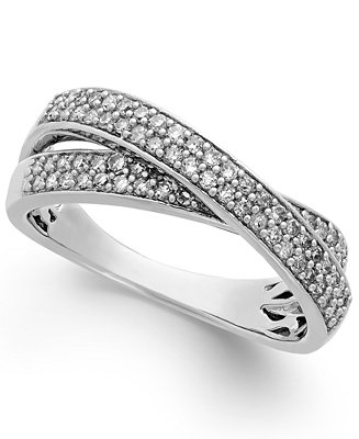 Diamond crossover ring in sterling silver 1 2 ct t w for Macy s jewelry clearance