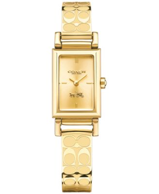 COACH WOMEN'S SIGNATURE ETCHED GOLD-PLATED BANGLE BRACELET WATCH 30X17MM 14502122