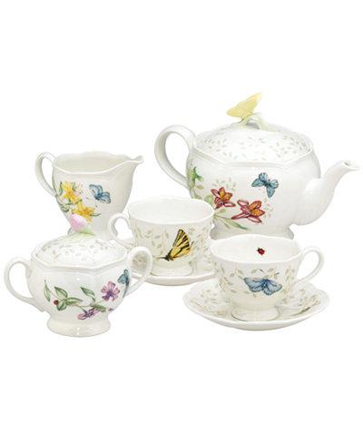 Lenox Quot Butterfly Meadow Quot 7 Piece Tea Set Service For Two