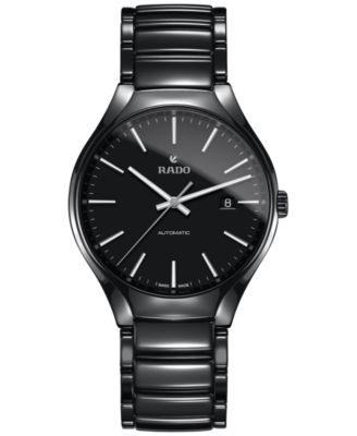 Rado Mens Swiss Automatic True Black High-Tech Ceramic Bracelet Watch 40mm R27056152