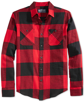 American Rag Men S Buffalo Plaid Flannel Shirt Casual