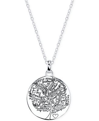 unwritten jewelry unwritten family tree pendant necklace in sterling silver 227