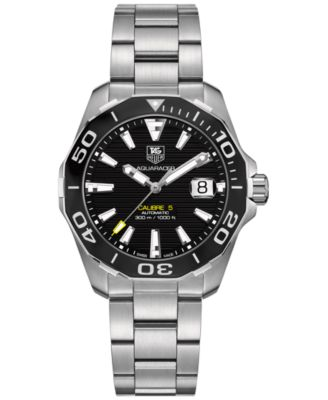 TAG Heuer Mens Swiss Automatic Aquaracer Calibre 5 Stainless Steel Bracelet Watch 41mm WAY211A.BA0928