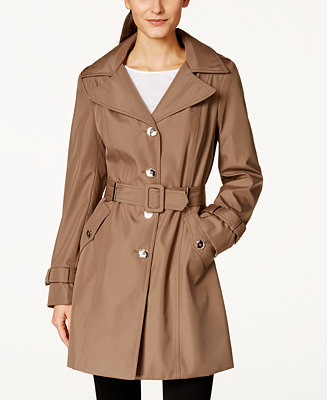 Calvin Klein Petite Hooded Single Breasted Trench Coat