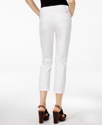 INC International Concepts Curvy-Fit Cropped White Wash Jeans