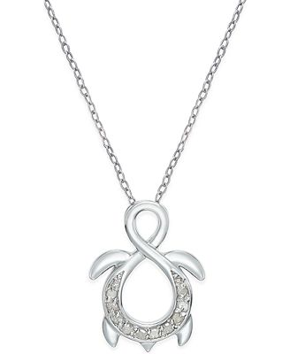 Diamond Infinity Turtle Pendant Necklace 1 10 Ct T W In Sterling Silver Necklaces